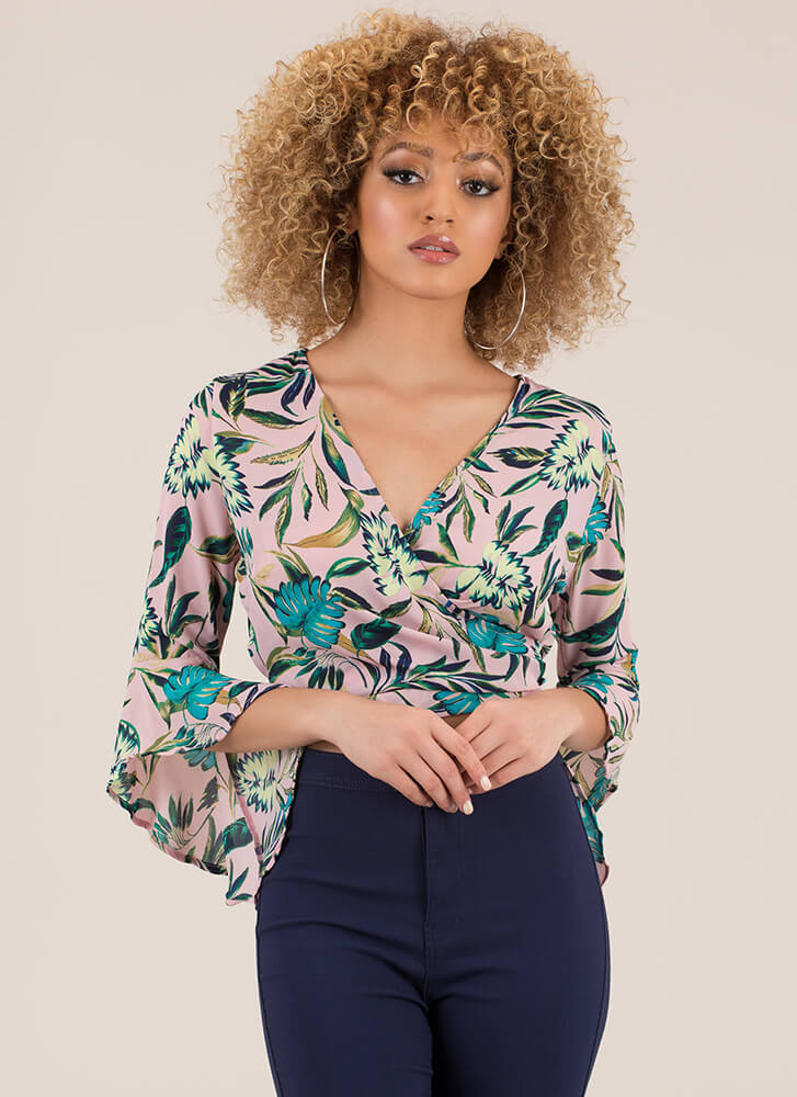 What A Re-Leaf Tropical Tie-Back Top PINK
