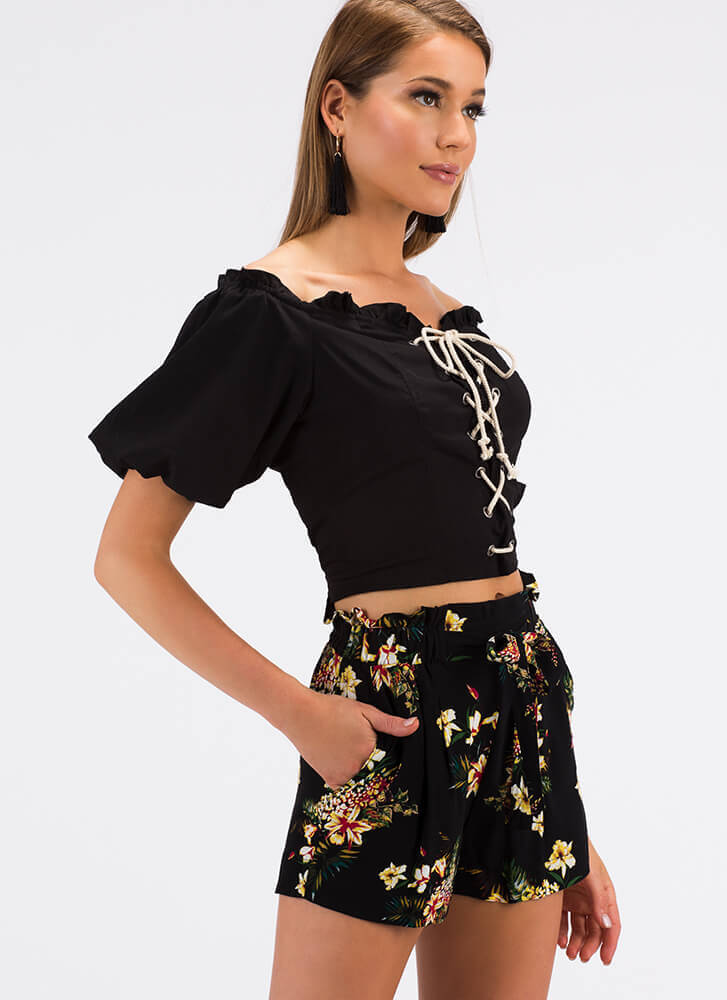 Laced It Ruffled Off-Shoulder Blouse BLACK