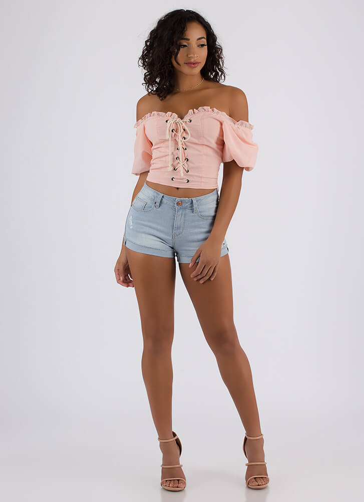 Laced It Ruffled Off-Shoulder Blouse PINK