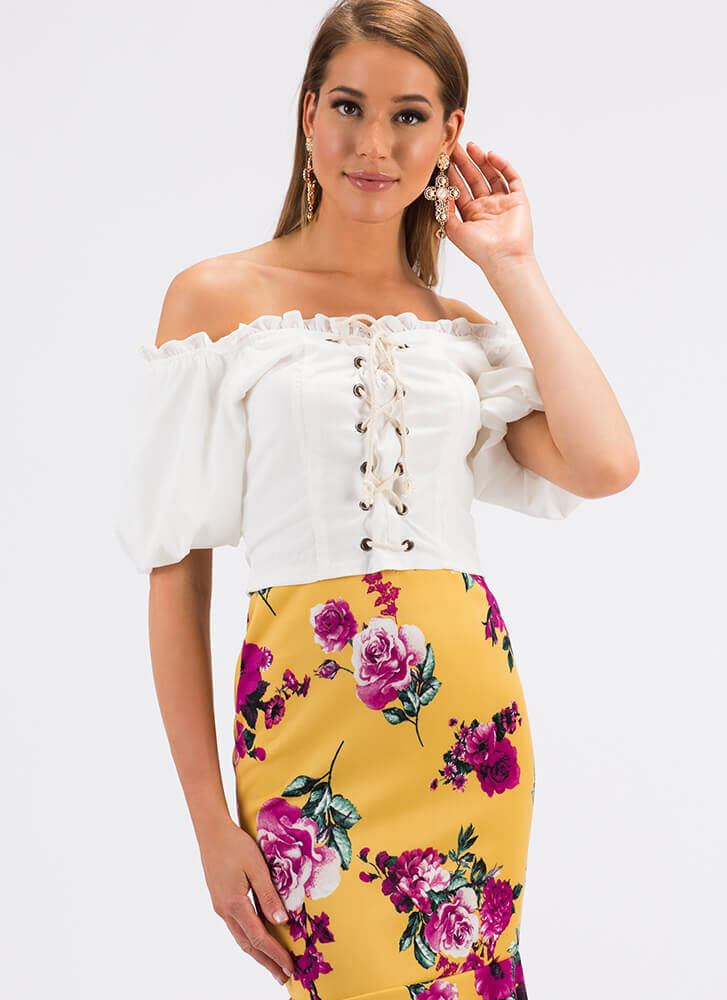 Laced It Ruffled Off-Shoulder Blouse WHITE