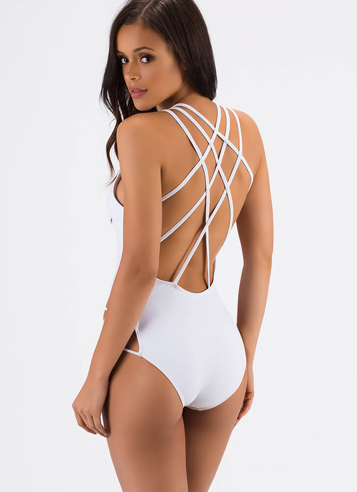 Shoutout To My X's Strappy Swimsuit WHITE (Final Sale)