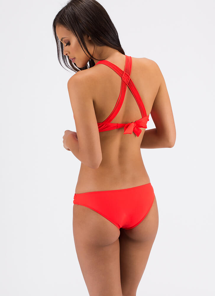 Strike The Right Cord Strappy Bikini Set ORANGE (Final Sale)