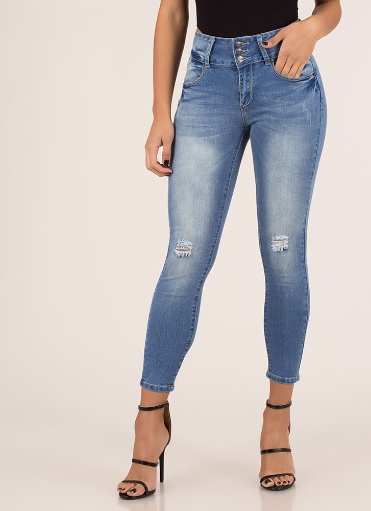 Have A Blast Distressed Skinny Jeans MEDBLUE