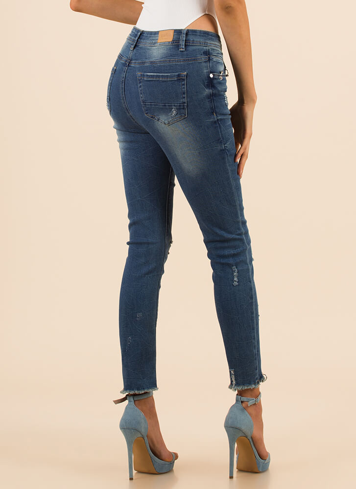 New Piercing Distressed Skinny Jeans BLUE (Final Sale)