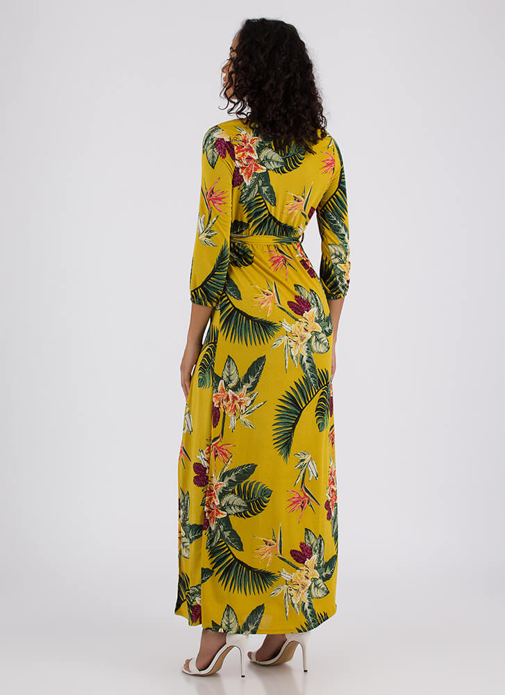 Trip To The Tropics Tied Floral Maxi MUSTARD