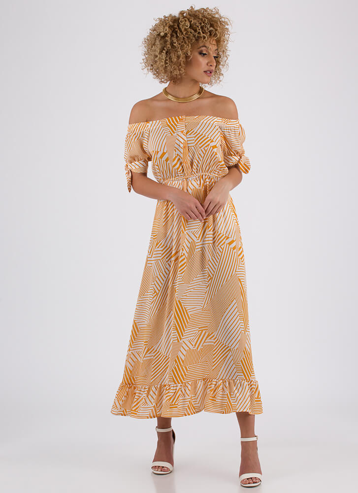 Cruise Line Off-Shoulder Print Maxi MUSTARD