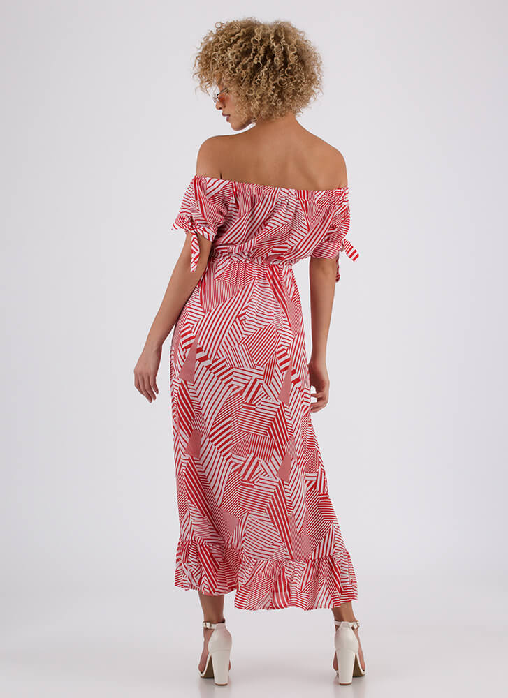 Cruise Line Off-Shoulder Print Maxi RED