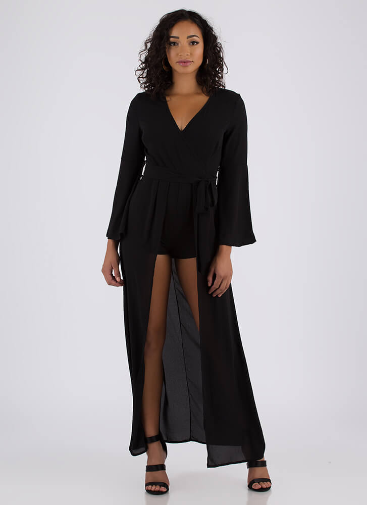 Love The Drama Bell-Sleeve Maxi BLACK