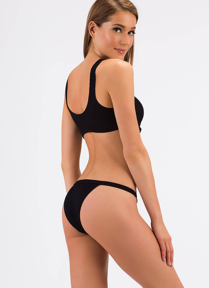 Detail-Oriented Tie-Front Bikini Set BLACK