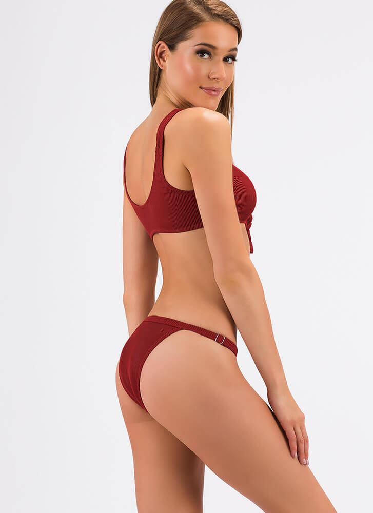 Detail-Oriented Tie-Front Bikini Set RUST