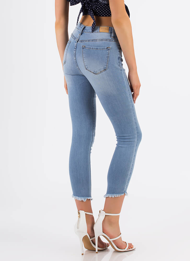 Cut-Off From It All Cropped Skinny Jeans LTBLUE