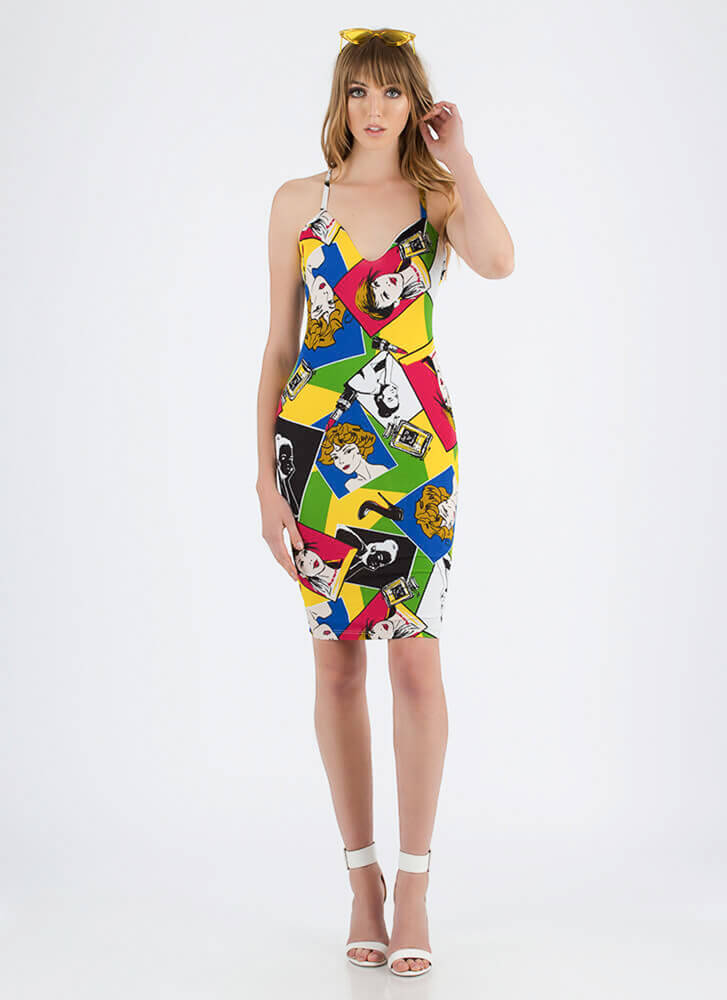 Pretty Picture Cartoon Print Midi Dress MULTI
