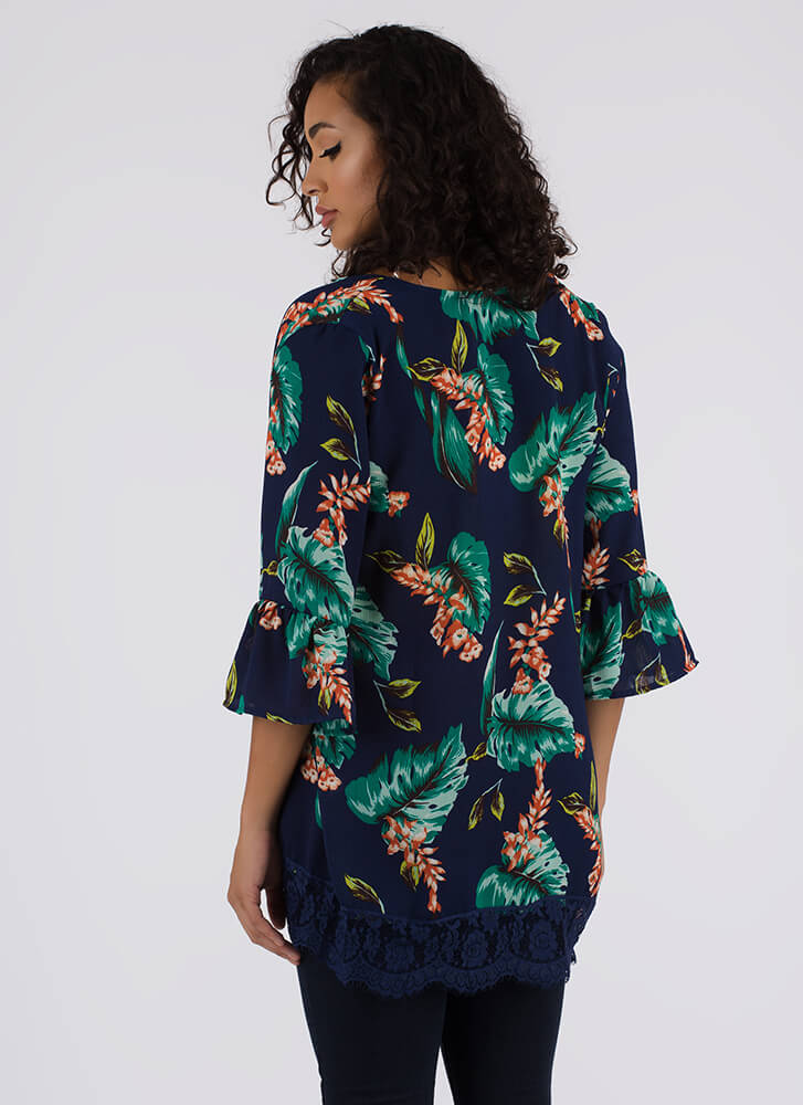 Leaf Me Be Tropical Swim Cover-Up NAVY