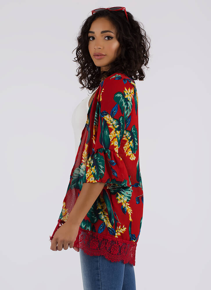 Leaf Me Be Tropical Swim Cover-Up RED