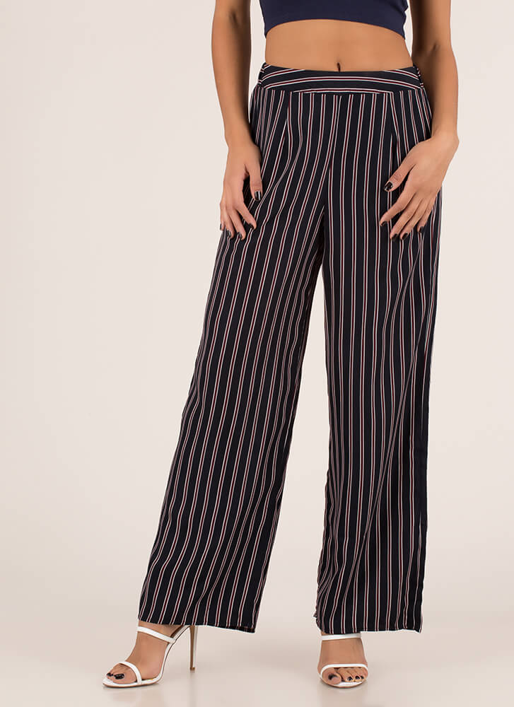Business Savvy Striped Palazzo Pants NAVY