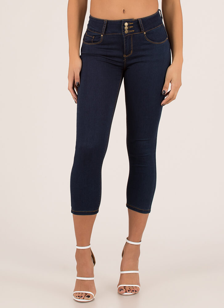 Upside Cropped Butt-Lift Skinny Jeans DKBLUE (You Saved $14)