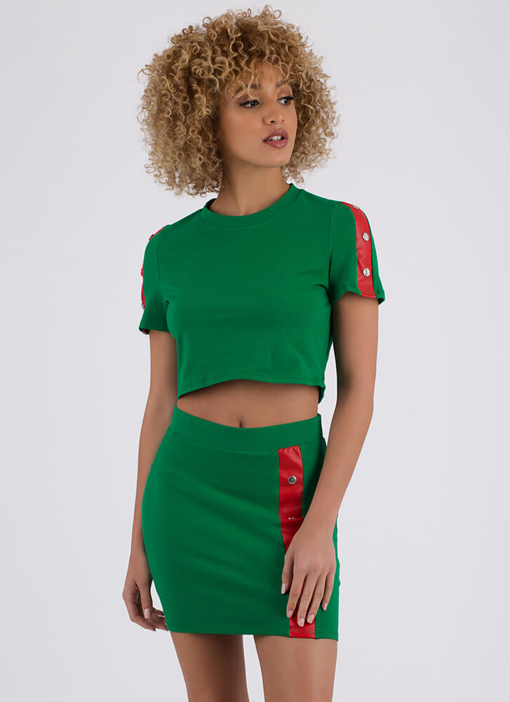 Snap Me Striped Top And Skirt Set GREEN