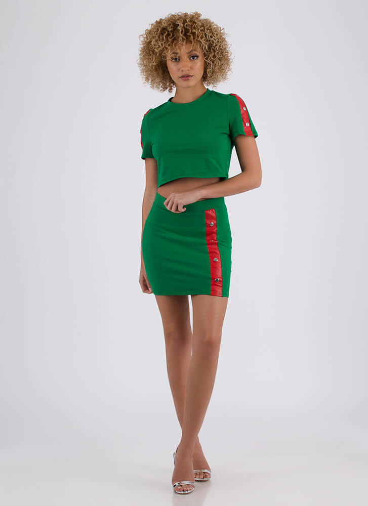 Snap Me Striped Top And Skirt Set GREEN (You Saved $31)