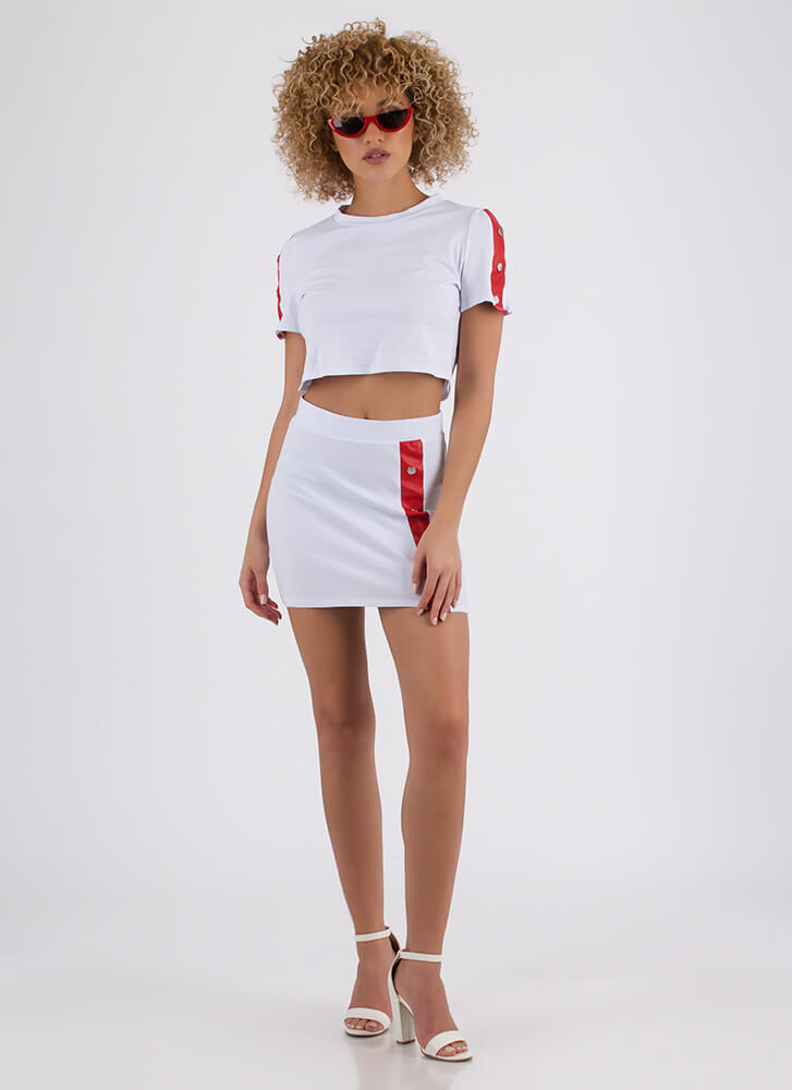 Snap Me Striped Top And Skirt Set WHITE