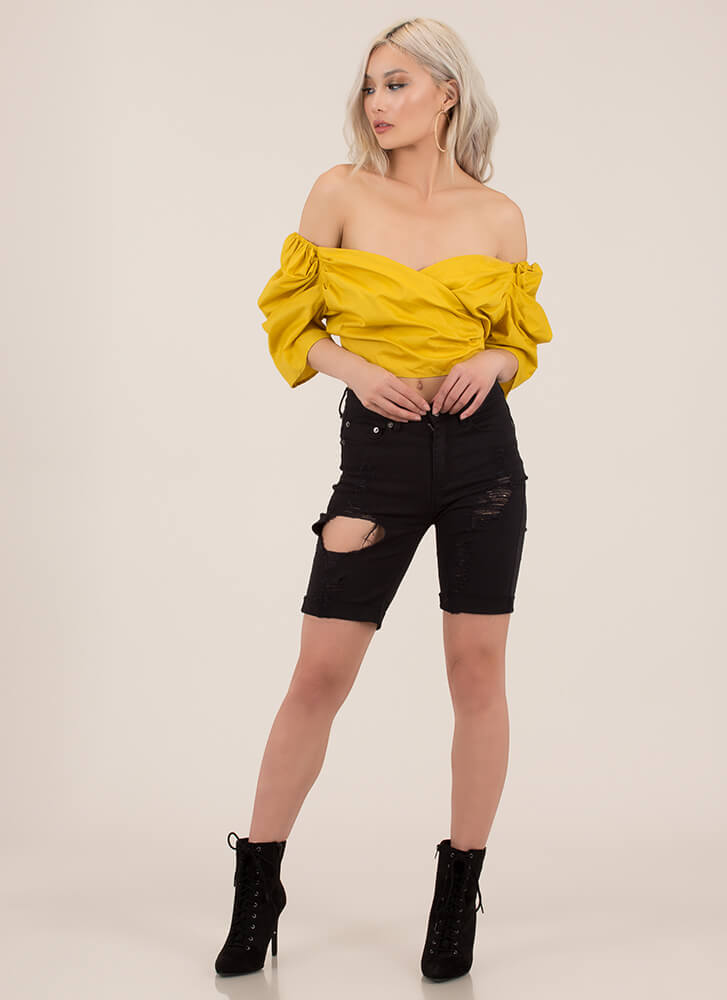 Your Sweetheart Off-Shoulder Crop Top MUSTARD (You Saved $9)
