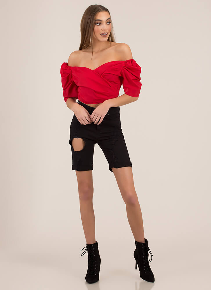 Your Sweetheart Off-Shoulder Crop Top RED (You Saved $9)