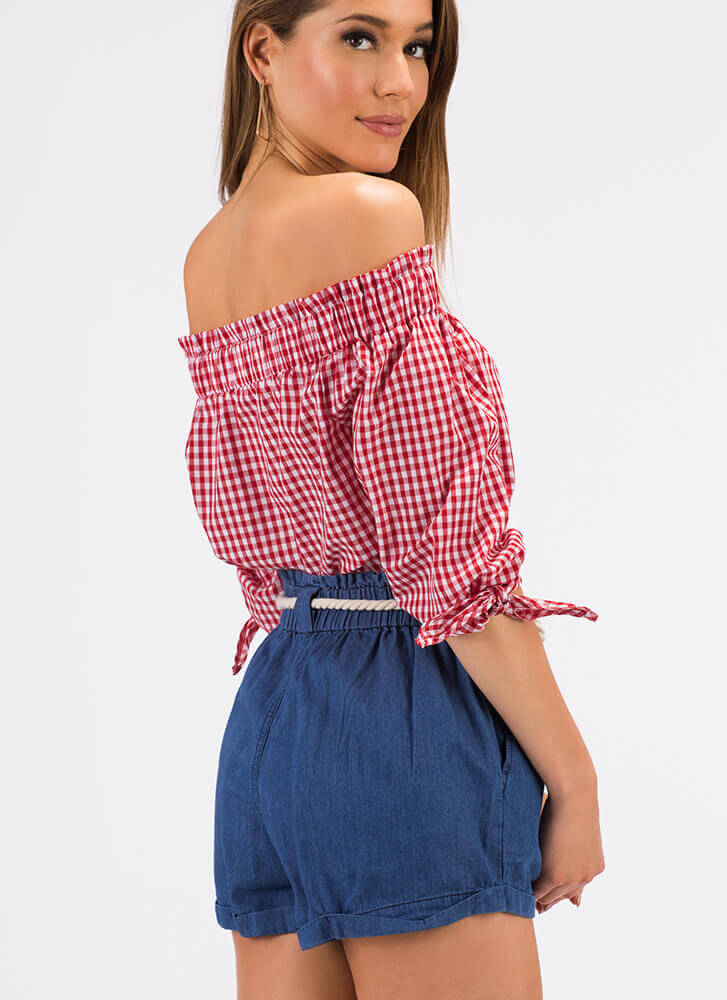 Going For The Gingham Off-Shoulder Top RED