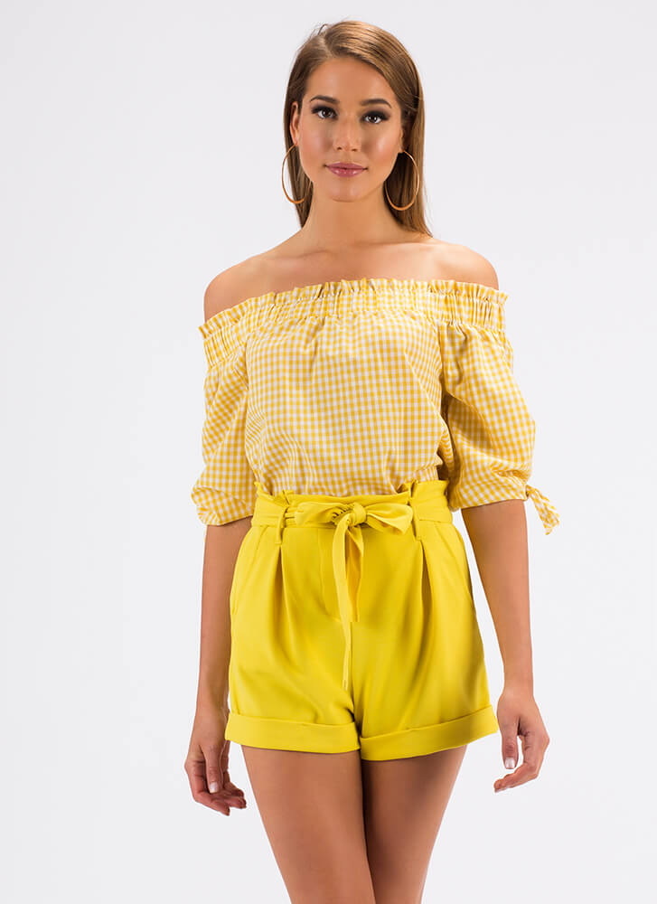 Going For The Gingham Off-Shoulder Top YELLOW