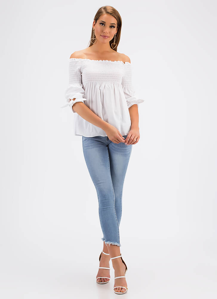 Play Flare Off-Shoulder Babydoll Top WHITE