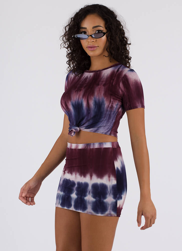 Tied And Tie-Dyed Top And Skirt Set PURPLEMULTI