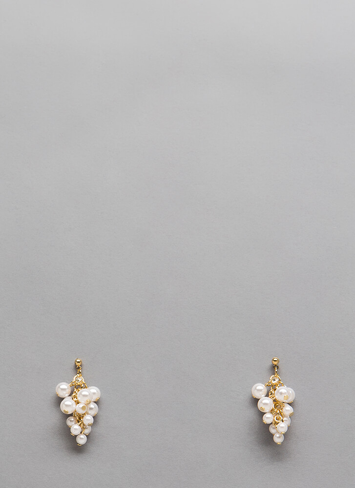 Grape Expectations Faux Pearl Earrings GOLD