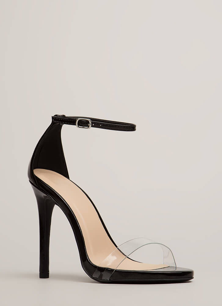 Clearly Stunning Ankle Strap Heels BLACK