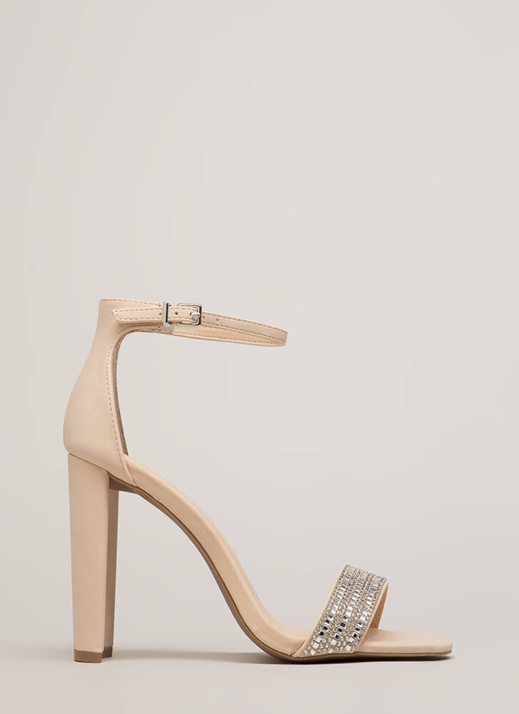 Sparkle Factor Jeweled Chunky Heels NUDE