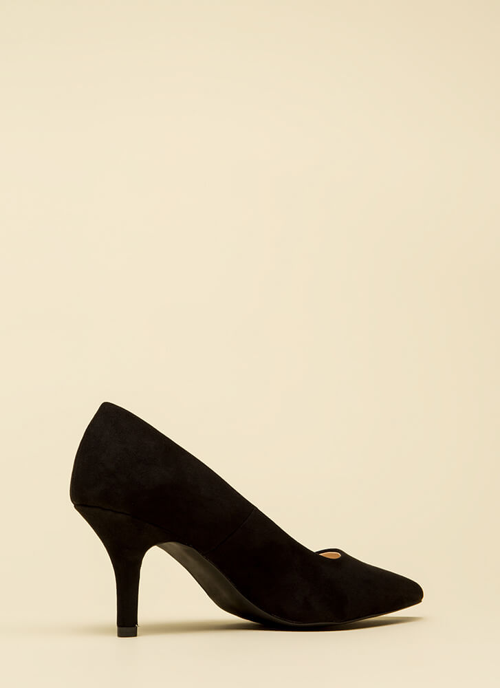 Short And To The Point Faux Suede Heels BLACK (Final Sale)