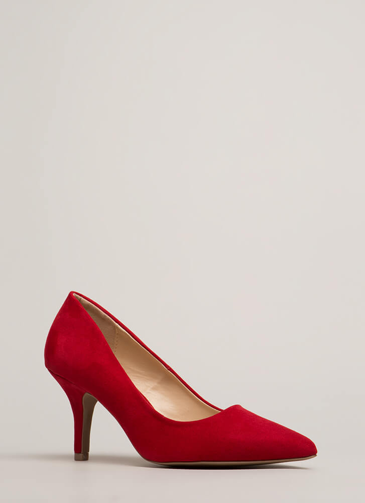 Short And To The Point Faux Suede Heels RED (Final Sale)