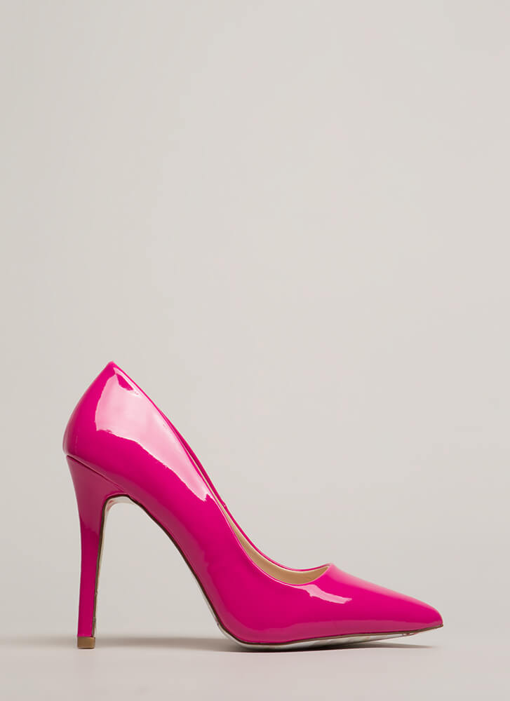 Put On A Show Pointy Faux Patent Heels FUCHSIA