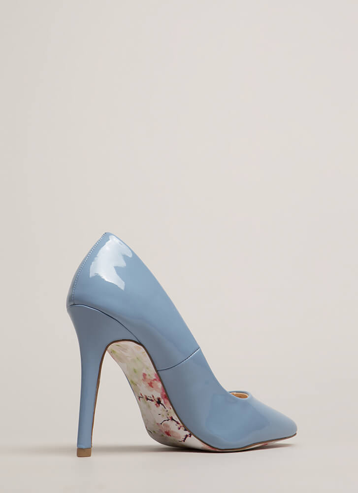 Put On A Show Pointy Faux Patent Heels SERENITYBLUE