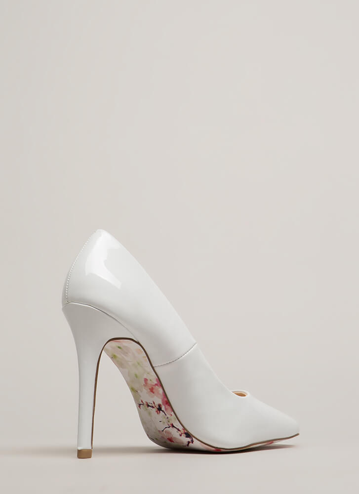 Put On A Show Pointy Faux Patent Heels WHITE