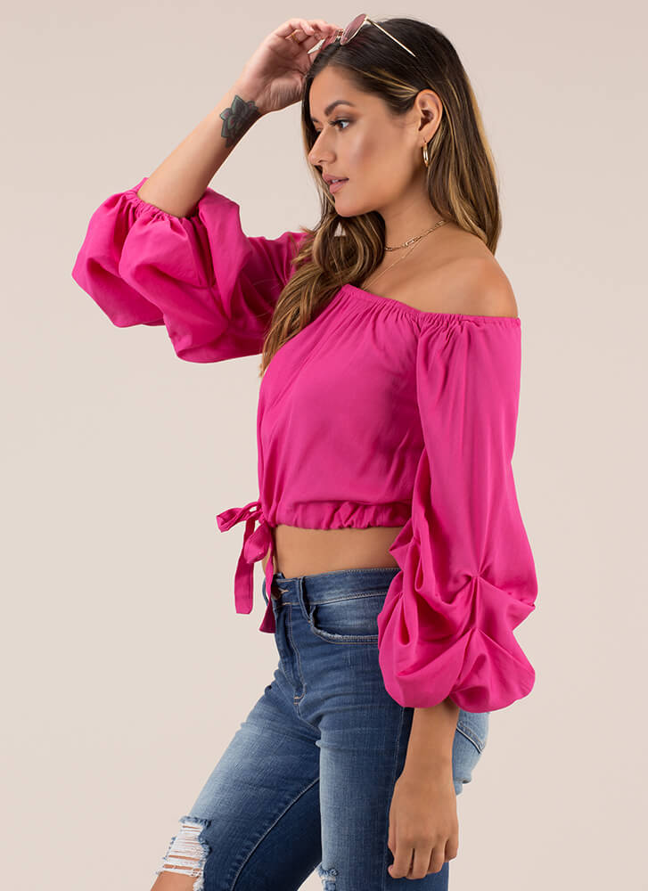Pick-Me-Up Puffy Off-Shoulder Top FUCHSIA