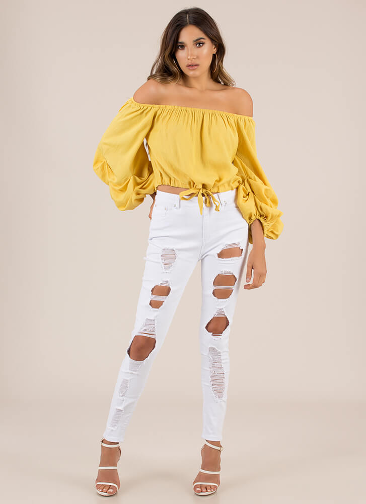 Pick-Me-Up Puffy Off-Shoulder Top YELLOW