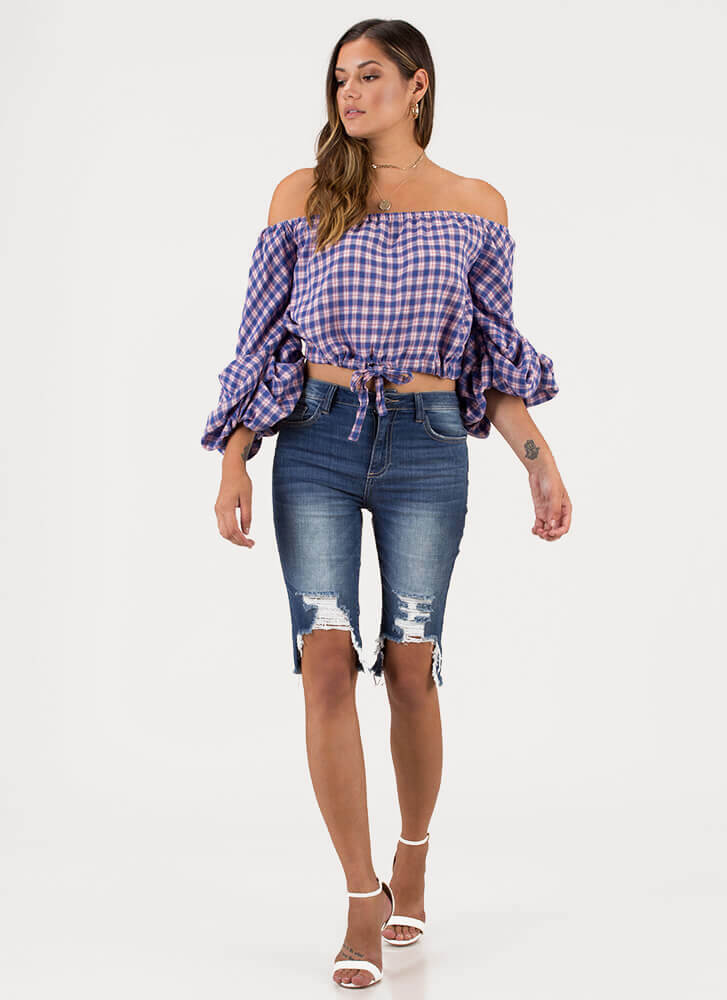 Plaid News Puffy Off-Shoulder Top BLUE