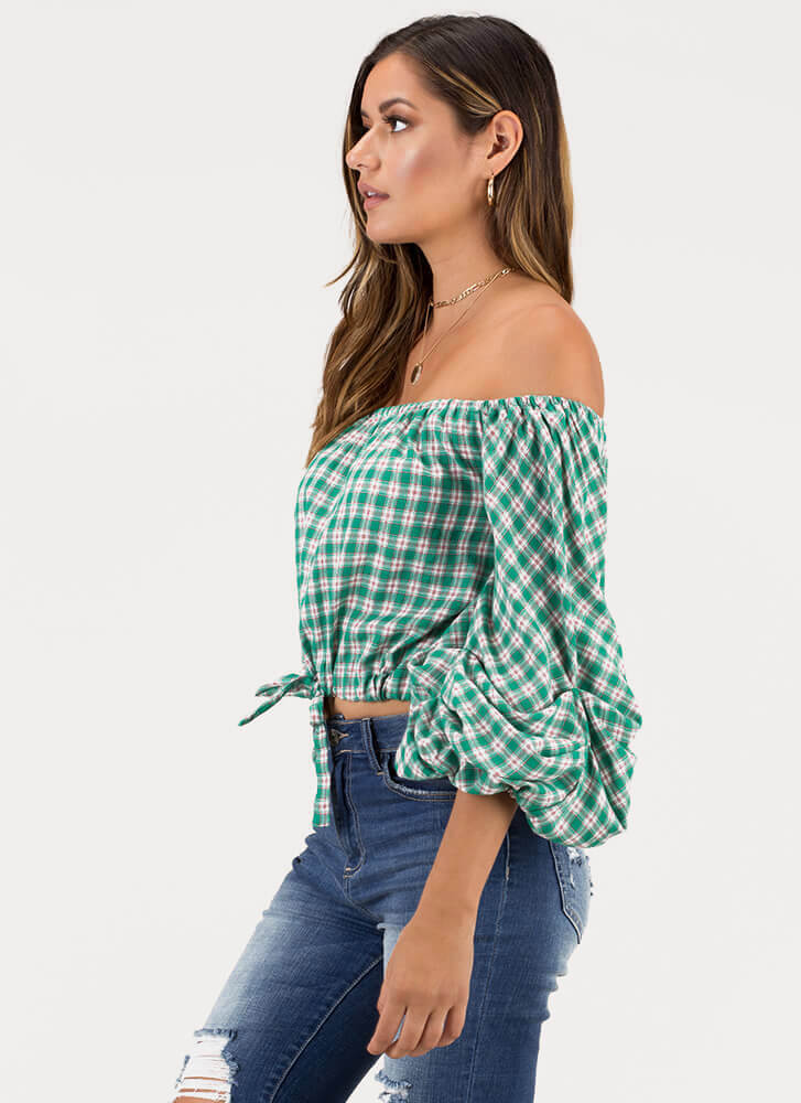 Plaid News Puffy Off-Shoulder Top GREEN