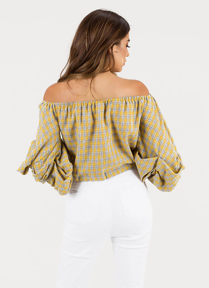 Plaid News Puffy Off-Shoulder Top YELLOW