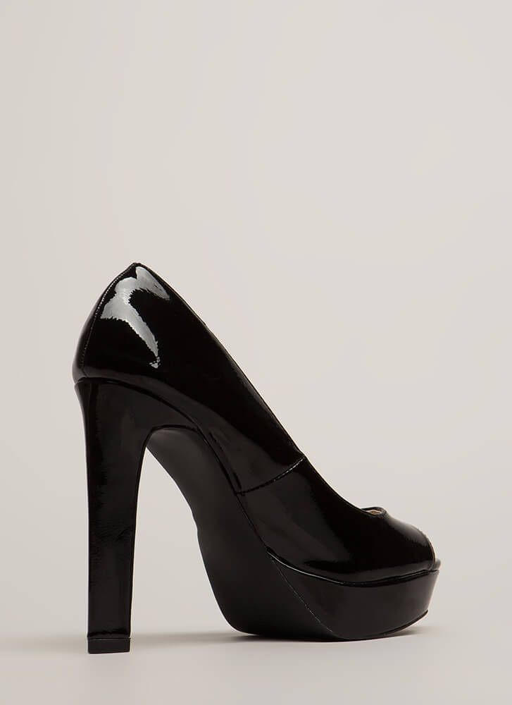 Dominated Faux Patent Peep-Toe Platforms BLACK