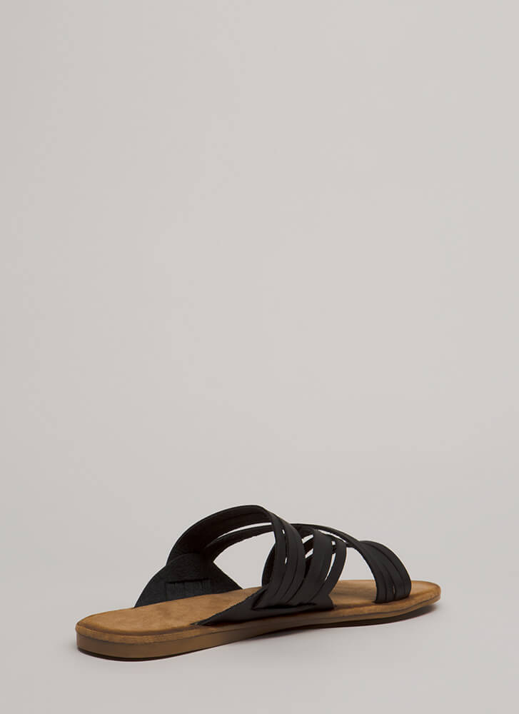 Make Me Strappy Faux Leather Sandals BLACK