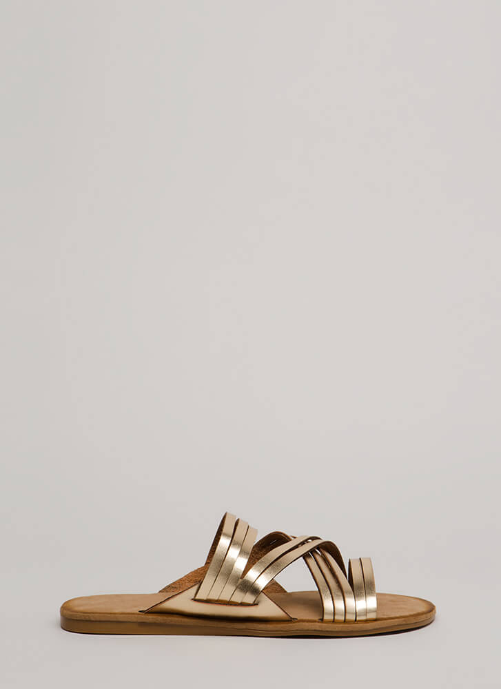 Make Me Strappy Faux Leather Sandals GOLD