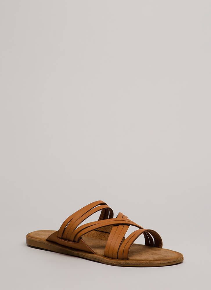 Make Me Strappy Faux Leather Sandals TAN