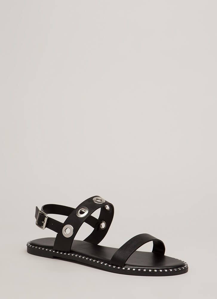 Hole Punch Studded Grommet Sandals BLACK (You Saved $12)