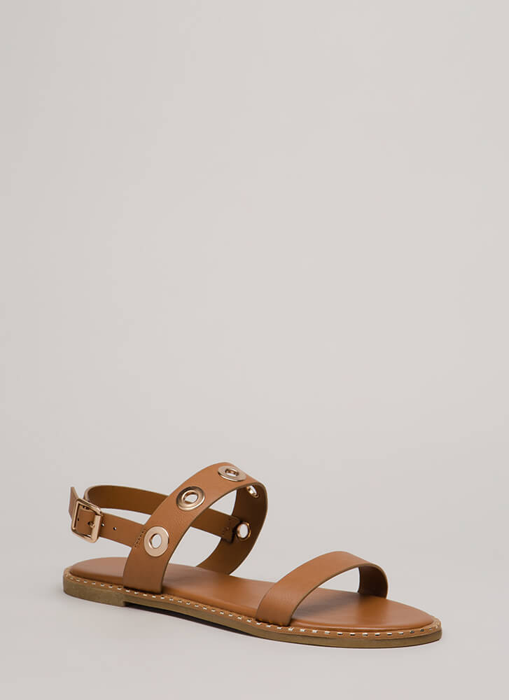 Hole Punch Studded Grommet Sandals TAN