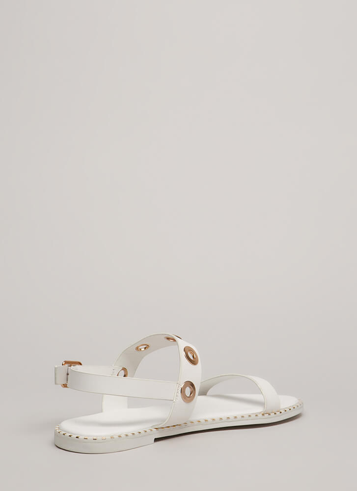 Hole Punch Studded Grommet Sandals WHITE