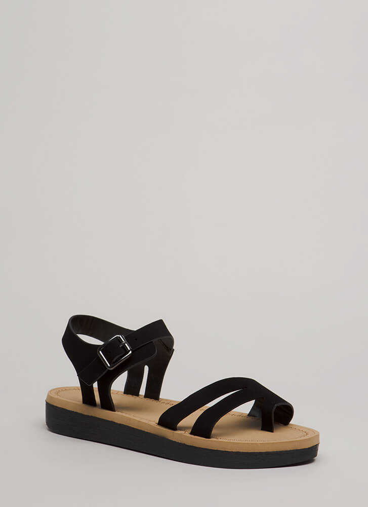 Walk Over Strappy Faux Nubuck Sandals BLACK (You Saved $12)